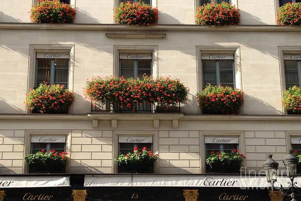 Shopping Districts Wall Art - Photograph - Paris Cartier Window Boxes - Paris Cartier Windows And Flower Boxes - Cartier Paris Building  by Kathy Fornal