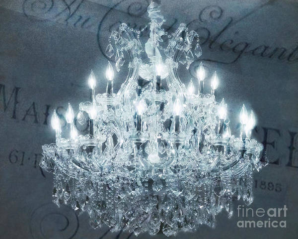 Wall Art - Photograph - Paris Chandelier Slate Blue Crystal Chandelier - Elegant French Crystal Chandelier Sparkling Lights by Kathy Fornal