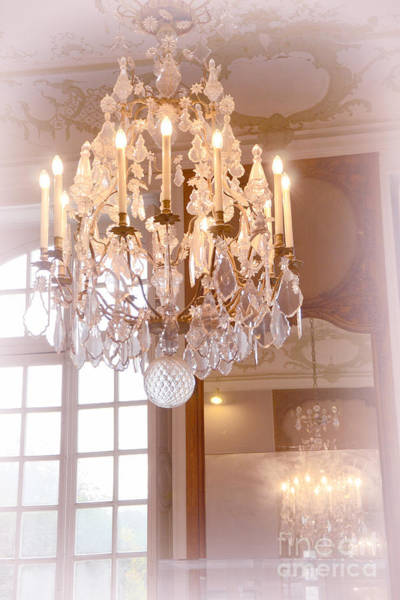Chandelier Photograph - Paris Chandeliers - Dreamy Pastel Pink Rodin Museum Crystal Chandelier With Reflection In Mirror by Kathy Fornal