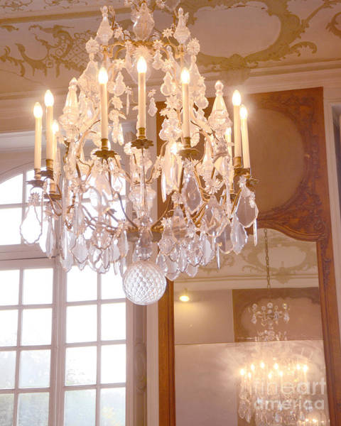 Chandelier Photograph - Paris Chandeliers - Paris Rodin Museum House Sparkling Crystal Chandelier Mirrored Reflection by Kathy Fornal