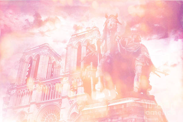 Wall Art - Photograph - Paris Charlemagne Dreamy Pink Notre Dame Cathedral Statue  by Kathy Fornal