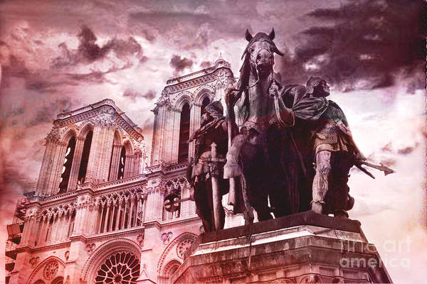 Notre Dame Photograph - Paris Charlemagne Notre Dame Cathedral Sculpture Monument Landmark - Paris Charlemagne Monument  by Kathy Fornal