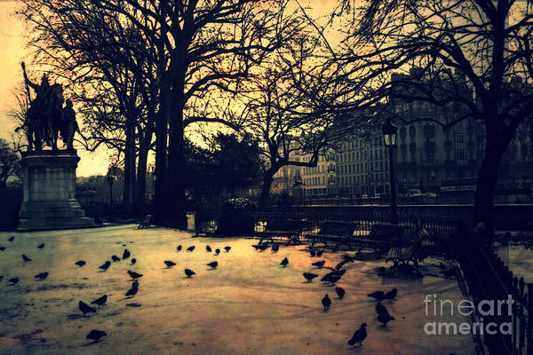 Wall Art - Photograph - Paris Notre Dame Charlemagne Monument Cathedral Courtyard - Paris Notre Dame Courtyard At Sunset  by Kathy Fornal