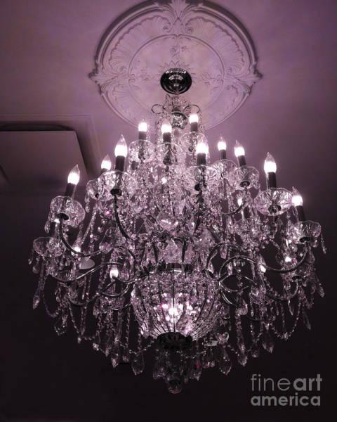 Chandelier Photograph - Paris Crystal Chandelier Art Deco - Romantic Purple Sparkling Chandelier - Crystal Chandelier Photos by Kathy Fornal