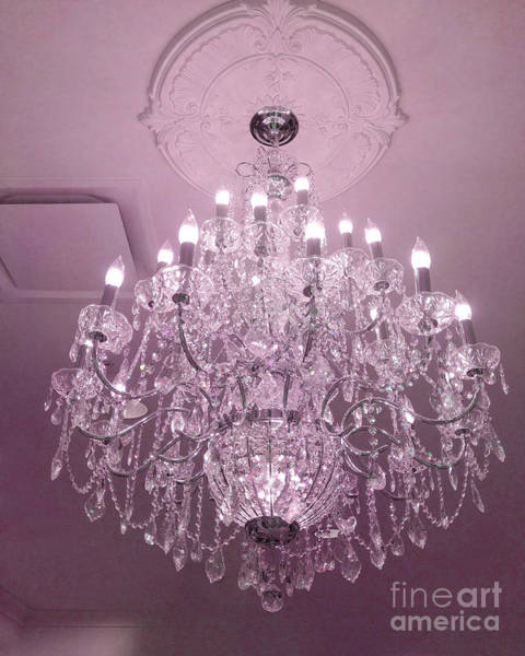Chandelier Photograph - Paris Crystal Chandelier Dreamy Romantic Pink Sparkliing Chandelier - Crystal Pink Chandelier  by Kathy Fornal