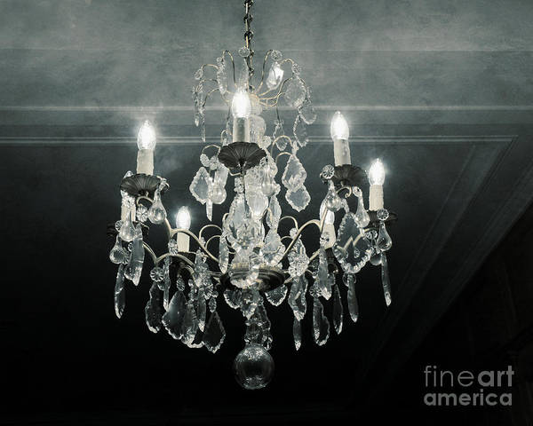 Chandelier Photograph - Paris Crystal Chandelier Haunting Dreamy Blue Gray - Dreamy Sparkling Crystal Chandelier Fine Art by Kathy Fornal