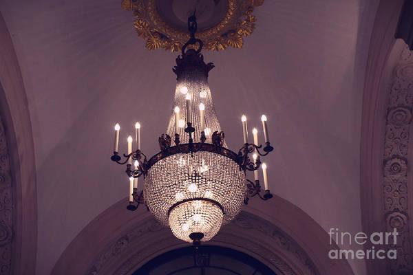 Wall Art - Photograph - Paris Crystal Chandelier Lavender Mauve Sparkling Chandelier Art Deco - Paris Crystal Chandeliers by Kathy Fornal