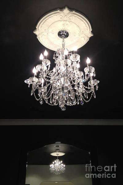 Chandelier Photograph - Paris Crystal Chandelier - Paris Black And White Chandelier - Sparkling Elegant Chandelier Opulence  by Kathy Fornal
