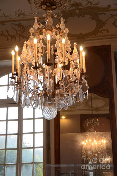Wall Art - Photograph - Paris Crystal Chandelier - Paris Rodin Museum Chandelier - Sparkling Crystal Chandelier Reflection by Kathy Fornal