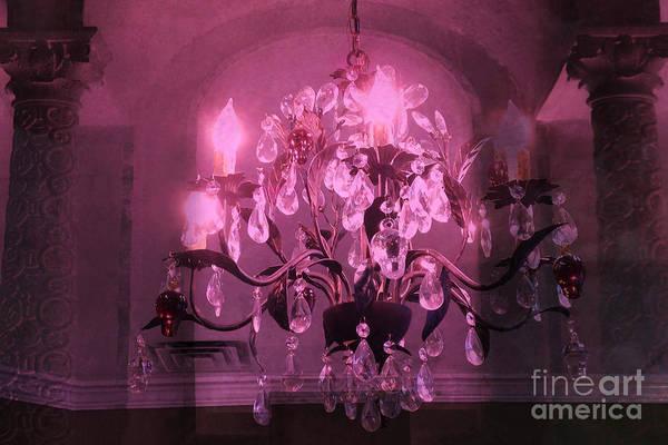 Chandelier Photograph - Paris Dark Pink Sparkling Crystal Chandelier Haunting Dark Pink Purple Plum Chandelier Art Deco  by Kathy Fornal