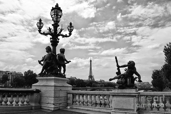 Photograph - Pont Alexandre IIi Bridge - Black And White by Carol Groenen