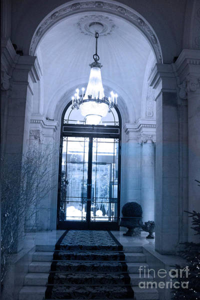 Chandelier Photograph - Paris Dreamy Blue Posh Hotel Interior Arch Entry With Sparkling Crystal Chandelier   by Kathy Fornal