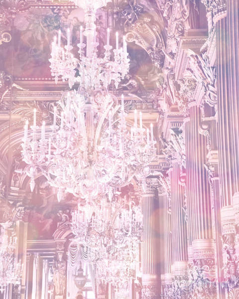Chandelier Photograph - Paris Dreamy Ethereal Chandelier Opera House - Paris Lavender Pink Dreamy Chandelier Opera House by Kathy Fornal