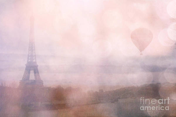 Girly Photograph - Paris Dreamy Pink Romantic Eiffel Tower - Paris Pink Eiffel Tower And Hot Air Balloons by Kathy Fornal