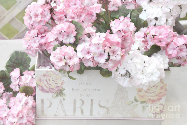Chic Photograph - Shabby Chic Paris Pink Flowers, Parisian Shabby Chic Paris Flower Box - Paris Floral Decor by Kathy Fornal