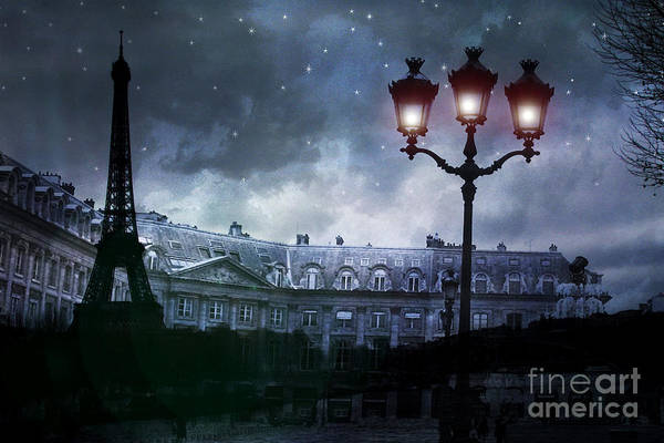 Shopping Districts Wall Art - Photograph - Paris Eiffel Tower Blue Starry Night Street Lamp Fantasy Photo Montage  by Kathy Fornal