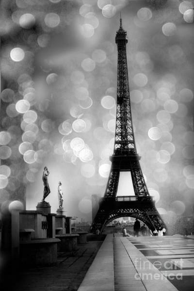 Cute Photograph - Paris Eiffel Tower Surreal Black And White Photography - Eiffel Tower Bokeh Surreal Fantasy Night  by Kathy Fornal