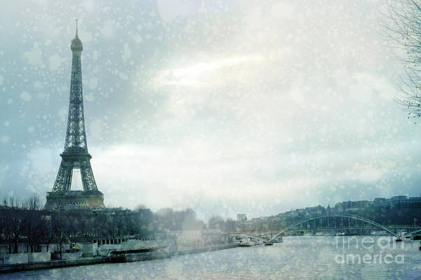Flake Photograph - Paris Eiffel Tower Winter Snow - Paris In Winter - Paris Eiffel Tower Winter Fog Landscape by Kathy Fornal
