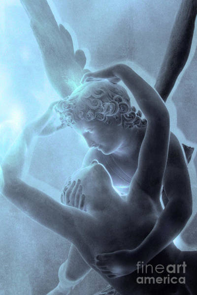Blue Angels Photograph - Eros Psyche Louvre Sculpture - Paris Eros And Psyche Romance Lovers  by Kathy Fornal