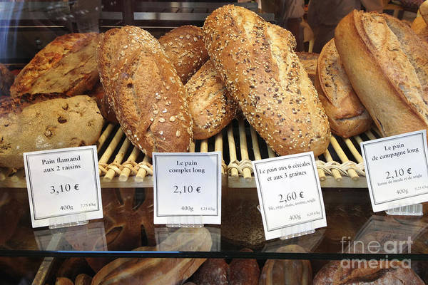Bread Photograph - Paris Food Photography - Paris Au Pain Bakery Patisserie - French Bread by Kathy Fornal