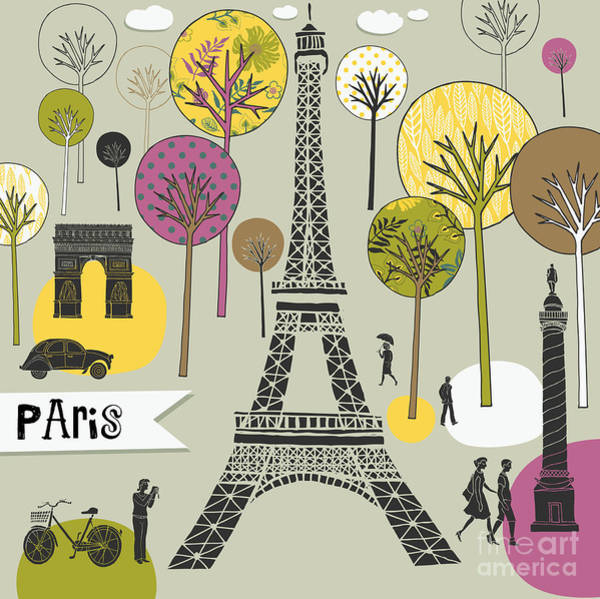 Wall Art - Digital Art - Paris France Art Print by Lavandaart