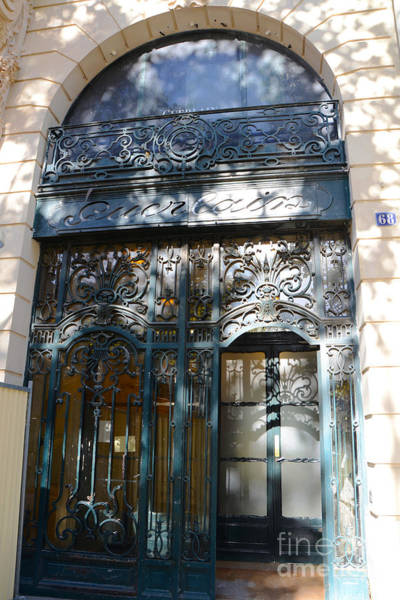 Storefront Photograph - Paris Guerlain Storefront Boutique - Paris Guerlain Blue Door Art Nouveau Art Deco Door by Kathy Fornal