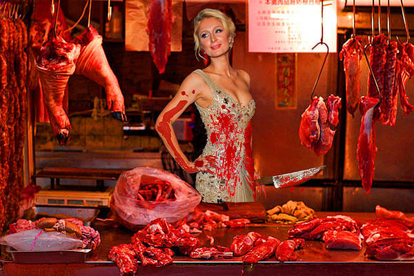 Juxtaposition Photograph - Paris Hilton The Butcher by Tony Rubino