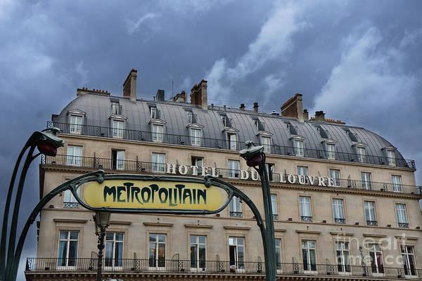 Paris Rooftop Photograph - Paris Metropolitain Sign At The Paris Hotel Du Louvre Metropolitain Sign Art Noueveau Art Deco by Kathy Fornal