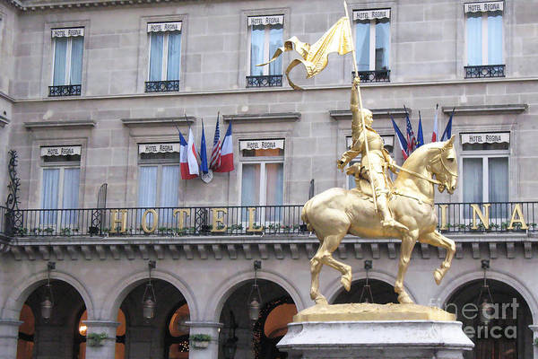 Arc Photograph - Paris Joan Of Arc Statue In Front Of Hotel Regina  - Joan Of Arc Monument Statue  by Kathy Fornal