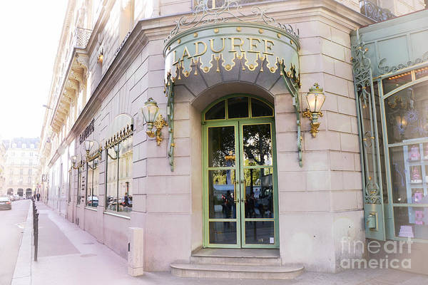 Storefront Photograph - Paris Laduree Patisserie Bakery Tea Shop - Paris Pink Pastel Laduree Architecture  by Kathy Fornal