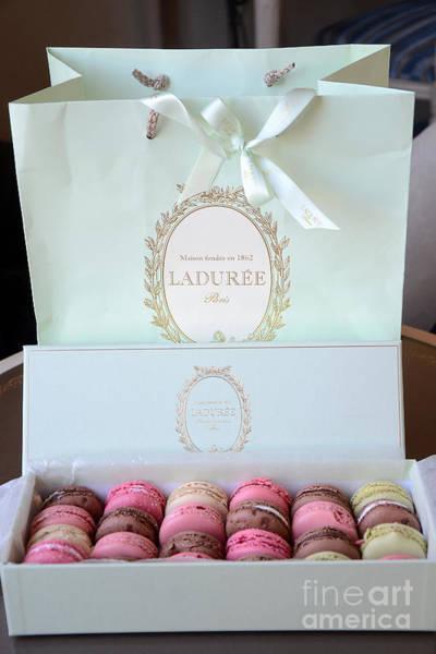 Nouveau Photograph - Paris Laduree Macarons - Dreamy Laduree Box Of French Macarons With Laduree Bag  by Kathy Fornal