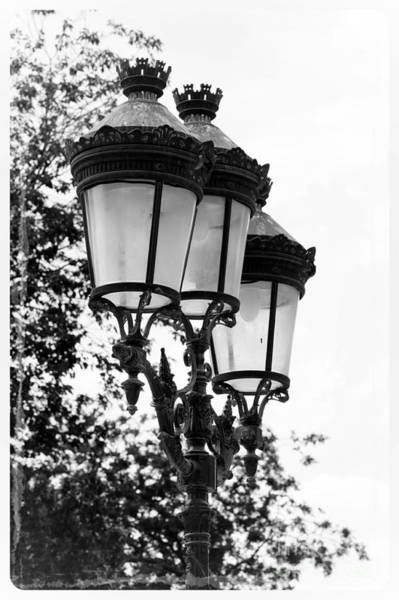 Photograph - Paris Lamps - Black And White by Carol Groenen