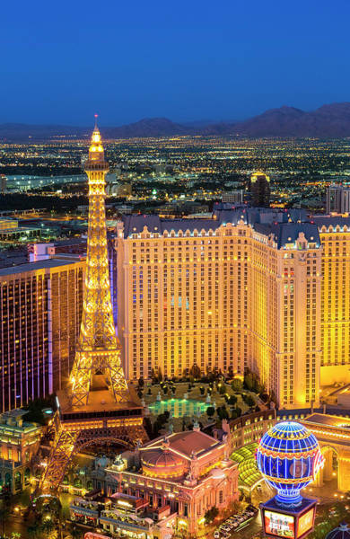 Las Vegas Photograph - Paris Las Vegas Hotel At Night, Nevada by Sylvain Sonnet