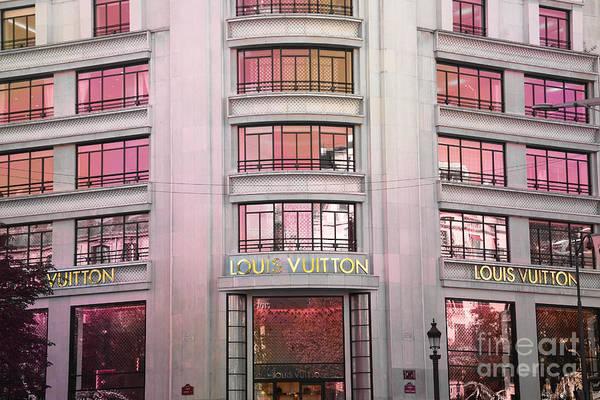 Champ Photograph - Paris Louis Vuitton Boutique Fashion Shop On The Champs Elysees by Kathy Fornal