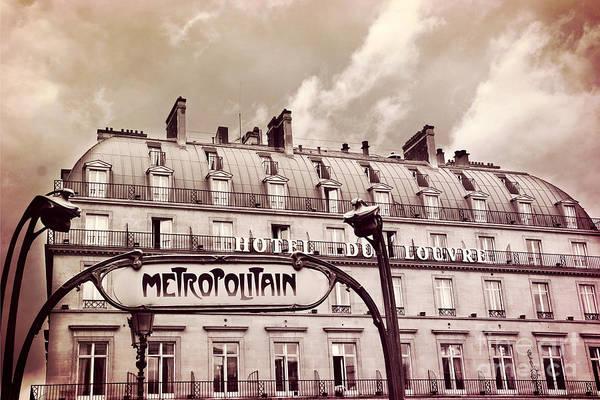 Paris Rooftop Photograph - Paris Louvre Metropolitain Sign At The Hotel Du Louvre - Paris Metro Sepia Art Deco Sign by Kathy Fornal