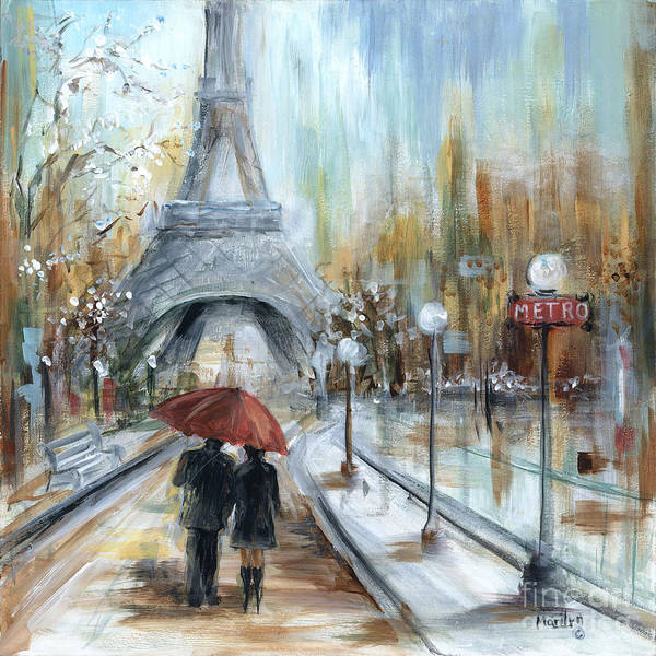 Wall Art - Painting - Paris Lovers I by Marilyn Dunlap