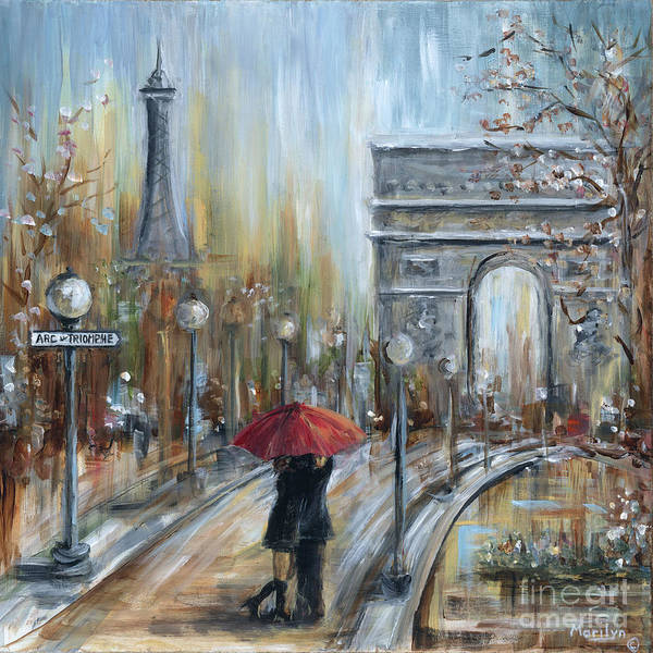 Wall Art - Painting - Paris Lovers II by Marilyn Dunlap