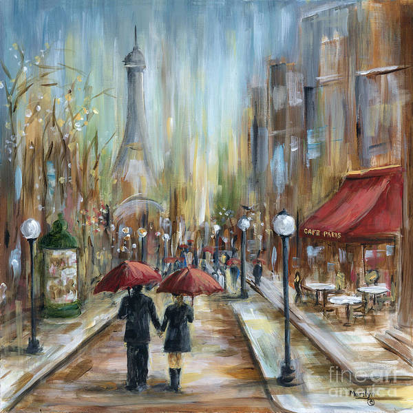 Wall Art - Painting - Paris Lovers Ill by Marilyn Dunlap