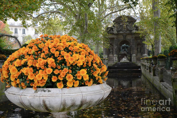 Jardin Photograph - Paris Luxembourg Gardens Autumn Fall Landscape - Medici Fountain Autumn Fall Flowers  by Kathy Fornal