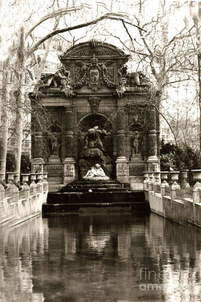 Jardin Photograph - Paris Luxembourg Gardens Sepia - Jardin Du Luxembourg Gardens - Medici Fountain by Kathy Fornal
