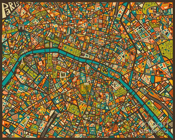 Paris Digital Art - Paris Map by Jazzberry Blue
