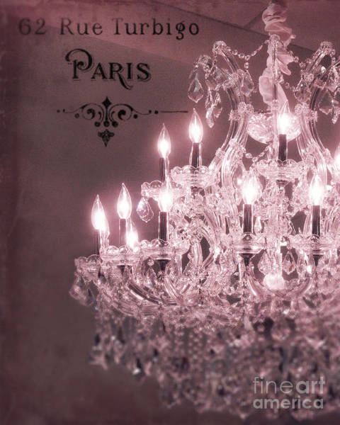 Chandelier Photograph - Paris Sparkling Crystal Chandelier - Paris Pink Mauve Crystal Chandelier Decor by Kathy Fornal