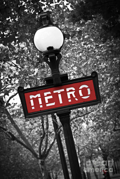 Lamp Wall Art - Photograph - Paris Metro by Elena Elisseeva