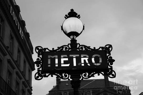 Nouveau Photograph - Paris Metro Sign Black And White Art - Ornate Metro Sign At The Louvre - Metro Sign Architecture by Kathy Fornal