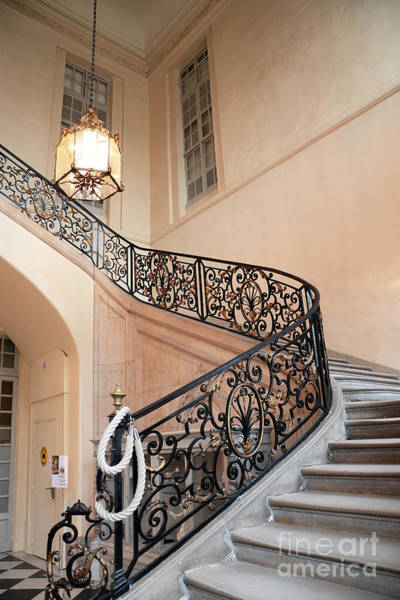 Wall Art - Photograph - Paris Musee Rodin - Rodin Museum Grand Staircase Entryway Chandelier - Staircase At Rodin Museum by Kathy Fornal