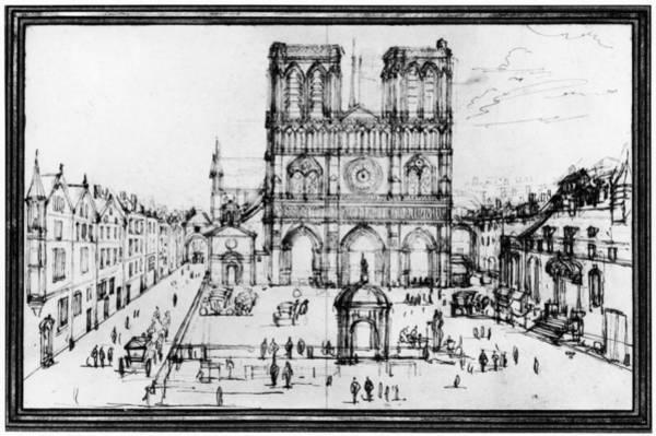 Notre Dame Drawing - Paris Notre Dame, 1690s by Granger