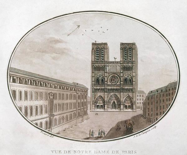 Notre Dame Drawing - Paris Notre Dame, 1700s by Granger