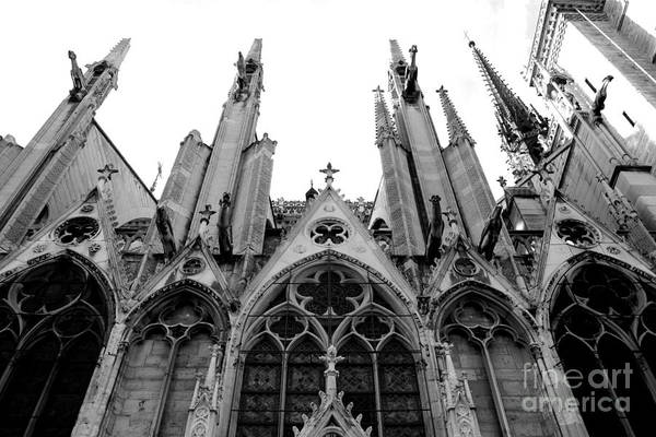 Notre Dame Photograph - Paris Notre Dame Cathedral Gothic Black White Gargoyles Architecture by Kathy Fornal