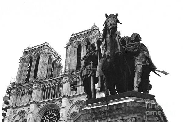 Wall Art - Photograph - Paris Notre Dame Cathedral Monument - Charlemagne Horses Statue At Notre Dame Cathedral  by Kathy Fornal