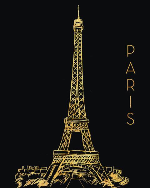 Wall Art - Mixed Media - Paris On Black by Nicholas Biscardi